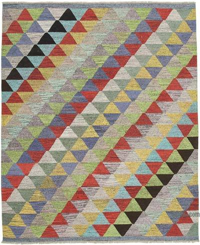 "New Contemporary Handwoven Wool Rug - 8'4"" x 10'1"" (100 in. x 121 in.) - Old Yarn"