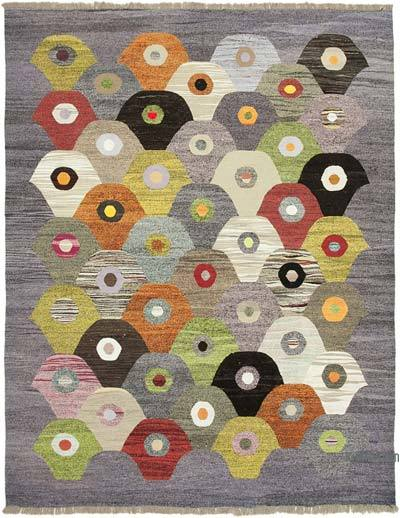 "New Contemporary Handwoven Wool Rug - 8'2"" x 10'6"" (98 in. x 126 in.) - Old Yarn"