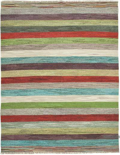 "New Contemporary Handwoven Kilim Rug - 8' 6"" x 10' 10"" (102 in. x 130 in.) - Vintage Yarn"