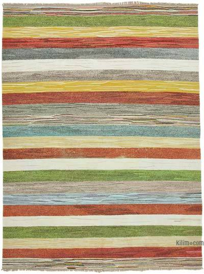 "New Contemporary Handwoven Kilim Rug - 8'1"" x 10'9"" (97 in. x 129 in.) - Vintage Yarn"