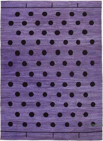 "New Contemporary Handwoven Wool Rug - 10'4"" x 14'6"" (124 in. x 174 in.) - Old Yarn"