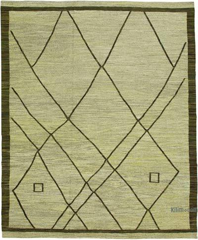 "New Contemporary Handwoven Wool Rug - 10' x 13'1"" (120 in. x 157 in.) - Old Yarn"