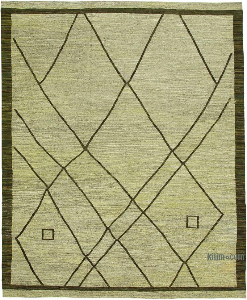 """New Contemporary Handwoven Kilim Rug - 10'  x 13' 1"""" (120 in. x 157 in.) - Vintage Yarn - K0039607"""