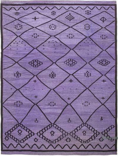 """New Contemporary Handwoven Wool Rug - 10'4"""" x 13'10"""" (124 in. x 166 in.) - Old Yarn"""