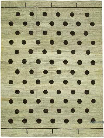 "New Contemporary Handwoven Wool Rug - 10'3"" x 14'1"" (123 in. x 169 in.) - Old Yarn"