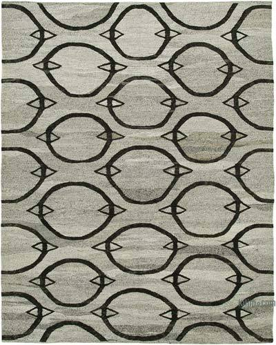 "New Contemporary Handwoven Wool Rug - 7'10"" x 10'1"" (94 in. x 121 in.) - Old Yarn"