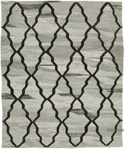"New Contemporary Handwoven Wool Rug - 7'11"" x 9'11"" (95 in. x 119 in.) - Old Yarn"