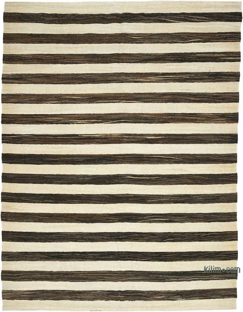 Beige, Marrón Alfombra Kilim Old Yarn - 239 cm x 311 cm - K0039630