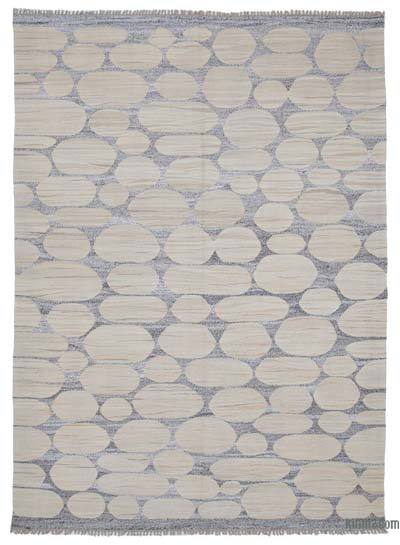 "New Contemporary Handwoven Wool Rug - 7'8"" x 10'8"" (92 in. x 128 in.) - Old Yarn"