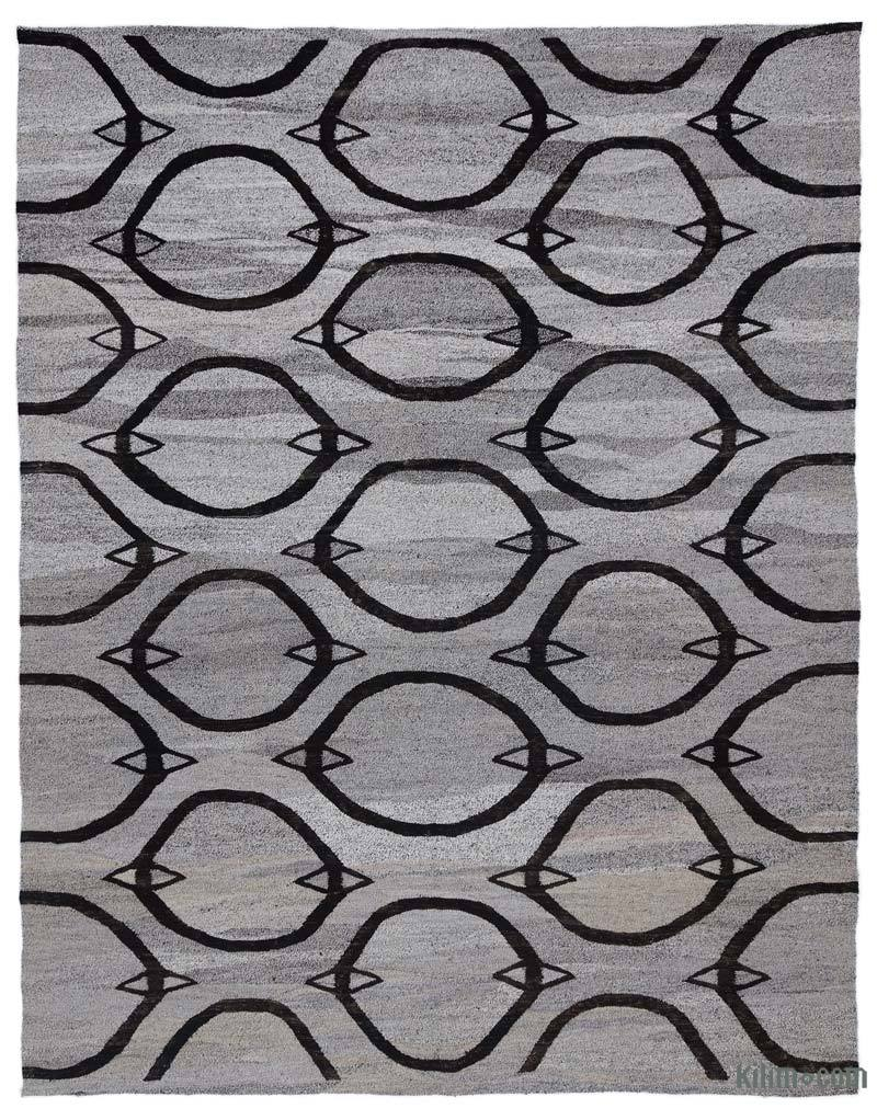 """New Contemporary Handwoven Kilim Rug - 8' 2"""" x 10' 4"""" (98 in. x 124 in.) - Vintage Yarn - K0039634"""