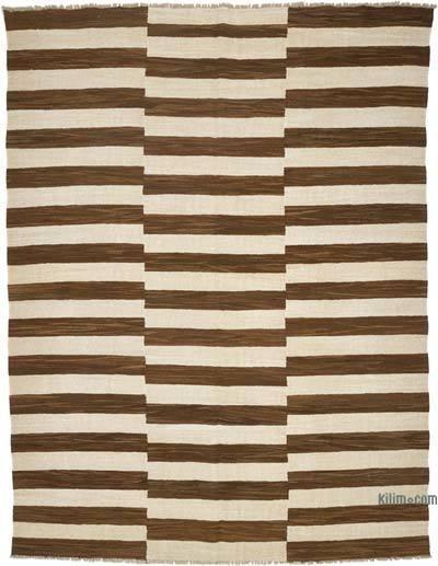 "New Contemporary Handwoven Wool Rug - 7'7"" x 10' (91 in. x 120 in.) - Old Yarn"
