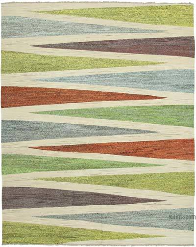 "New Contemporary Handwoven Kilim Rug - 8'  x 10' 1"" (96 in. x 121 in.) - Vintage Yarn"