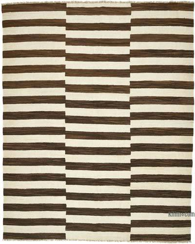 "New Contemporary Handwoven Wool Rug - 8'5"" x 10'8"" (101 in. x 128 in.) - Old Yarn"