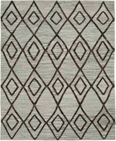 """New Contemporary Handwoven Wool Rug - 8'1"""" x 10' (97 in. x 120 in.) - Old Yarn"""