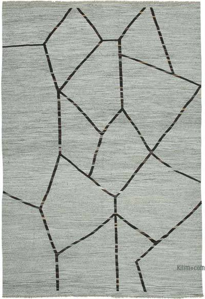 "New Contemporary Handwoven Wool Rug - 9'10"" x 14'8"" (118 in. x 176 in.) - Old Yarn"
