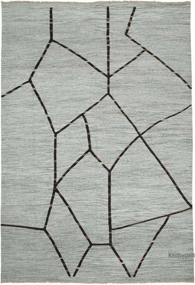 "New Contemporary Handwoven Wool Rug - 9'11"" x 14'8"" (119 in. x 176 in.) - Old Yarn"