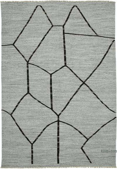 "New Contemporary Handwoven Wool Rug - 8'8"" x 12'8"" (104 in. x 152 in.) - Old Yarn"