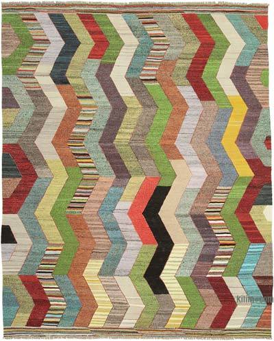 "New Contemporary Handwoven Wool Rug - 8'8"" x 10'10"" (104 in. x 130 in.) - Old Yarn"