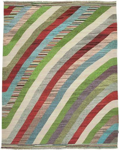 "New Contemporary Handwoven Kilim Rug - 8' 7"" x 10' 9"" (103 in. x 129 in.) - Vintage Yarn"