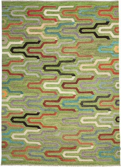 "New Contemporary Handwoven Kilim Rug - 9'11"" x 14'1"" (119 in. x 169 in.) - Vintage Yarn"