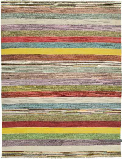 "New Contemporary Handwoven Kilim Rug - 8' 7"" x 11'  (103 in. x 132 in.) - Vintage Yarn"