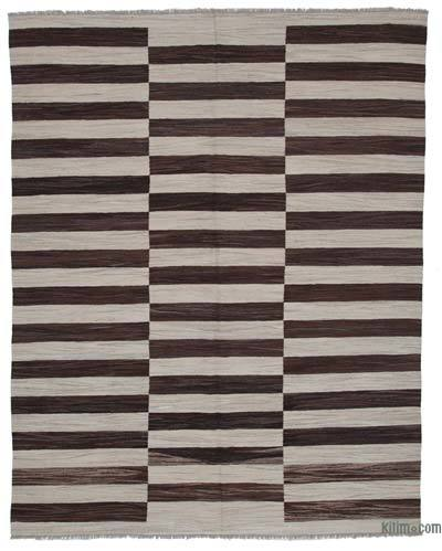 "New Contemporary Handwoven Wool Rug - 7'11"" x 10'2"" (95 in. x 122 in.) - Old Yarn"