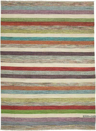 "New Contemporary Handwoven Kilim Rug - 8' 10"" x 12' 4"" (106 in. x 148 in.) - Vintage Yarn"