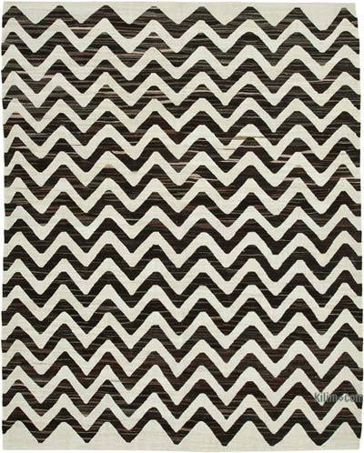 """New Contemporary Handwoven Wool Rug - 8' x 10'2"""" (96 in. x 122 in.) - Old Yarn"""