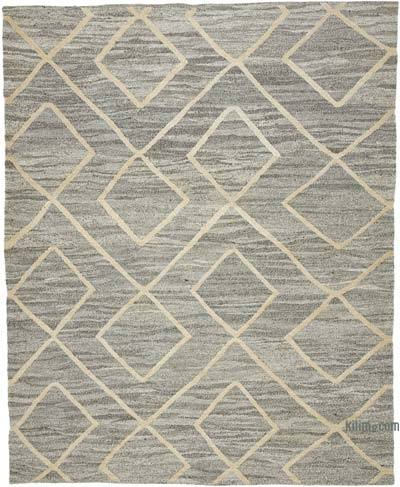 "New Contemporary Handwoven Wool Rug - 7'10"" x 9'10"" (94 in. x 118 in.) - Old Yarn"