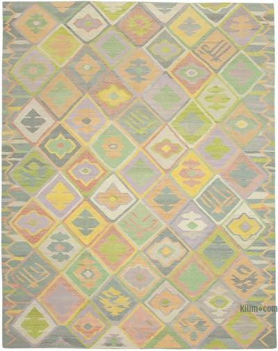 """New Contemporary Handwoven Wool Rug - 10'3"""" x 13'1"""" (123 in. x 157 in.) - Old Yarn"""