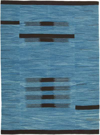 "Blue, Black New Contemporary Handwoven Kilim Rug - 7' 5"" x 10' 1"" (89 in. x 121 in.)"