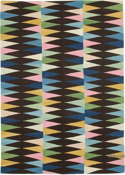 "New Contemporary Handwoven Wool Rug - 5'10"" x 8'2"" (70 in. x 98 in.) - Old Yarn"
