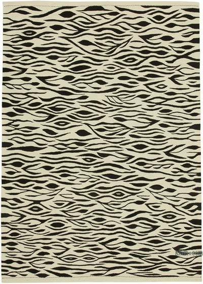 "New Contemporary Handwoven Wool Rug - 5'7"" x 7'10"" (67 in. x 94 in.) - Old Yarn"