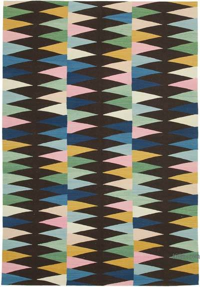 """New Contemporary Handwoven Wool Rug - 5'10"""" x 8'6"""" (70 in. x 102 in.) - Old Yarn"""