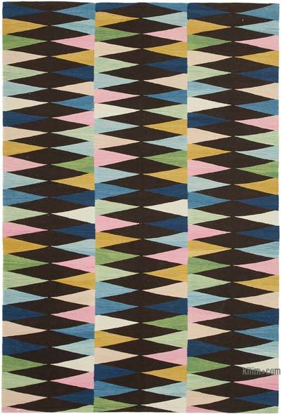 "New Contemporary Handwoven Wool Rug - 5'9"" x 8'6"" (69 in. x 102 in.) - Old Yarn"