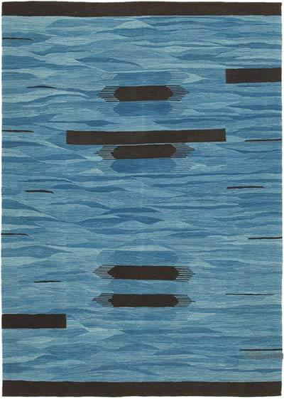 "Blue New Contemporary Handwoven Kilim Rug - 5' 11"" x 8' 4"" (71 in. x 100 in.)"