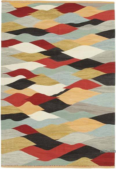 "New Contemporary Handwoven Wool Rug - 6'8"" x 9'11"" (80 in. x 119 in.) - Old Yarn"