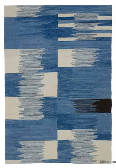 "New Contemporary Handwoven Wool Rug - 5'8"" x 8'4"" (68 in. x 100 in.) - Old Yarn"