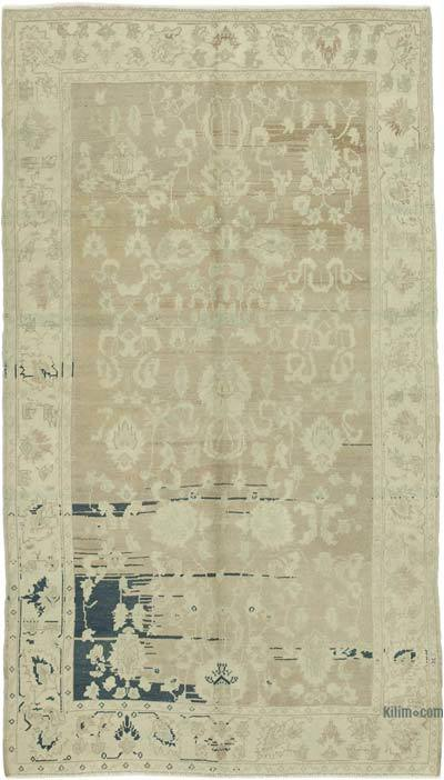 "All Wool Hand Knotted Vintage Area Rug - 4' 6"" x 8' 1"" (54 in. x 97 in.)"