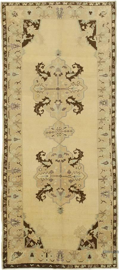 "All Wool Hand Knotted Vintage Area Rug - 4' 4"" x 9' 9"" (52 in. x 117 in.)"