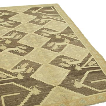 """All Wool Hand-Knotted Vintage Turkish Rug - 4' 10"""" x 7' 5"""" (58 in. x 89 in.) - K0039793"""
