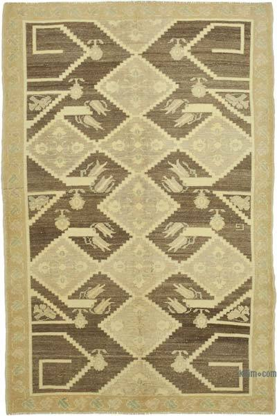 """All Wool Hand-Knotted Vintage Turkish Rug - 4' 10"""" x 7' 5"""" (58 in. x 89 in.)"""