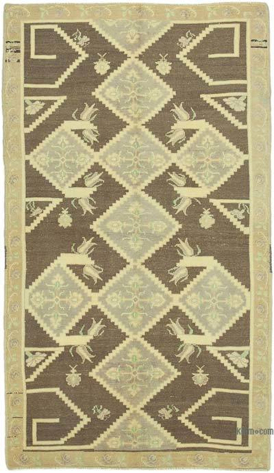 "All Wool Hand Knotted Vintage Area Rug - 4' 7"" x 8' 2"" (55 in. x 98 in.)"