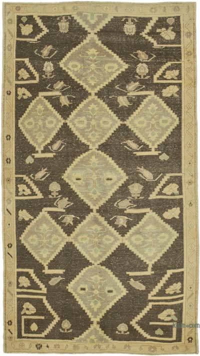 "All Wool Hand Knotted Vintage Area Rug - 5' 1"" x 9' 4"" (61 in. x 112 in.)"