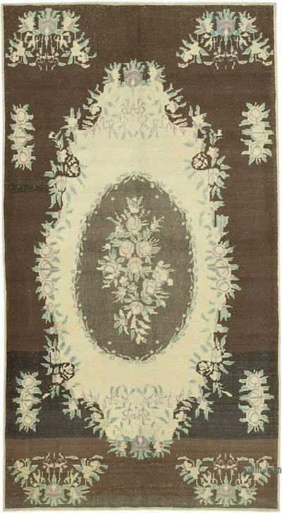 "All Wool Hand Knotted Vintage Area Rug - 4' 10"" x 8' 10"" (58 in. x 106 in.)"