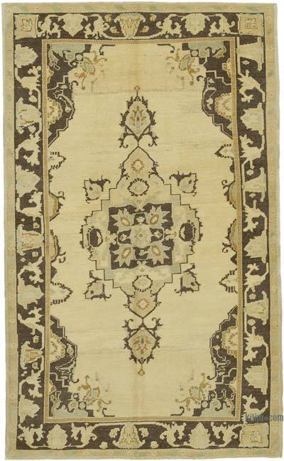 "All Wool Hand Knotted Vintage Area Rug - 4' 6"" x 7' 7"" (54 in. x 91 in.)"