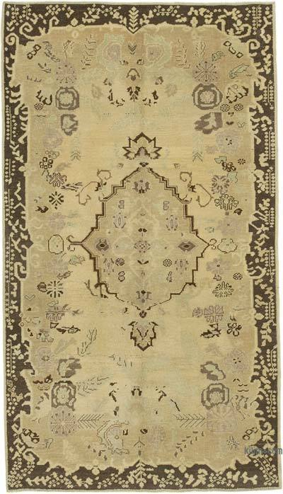 """All Wool Hand Knotted Vintage Area Rug - 4' 11"""" x 8' 9"""" (59 in. x 105 in.)"""