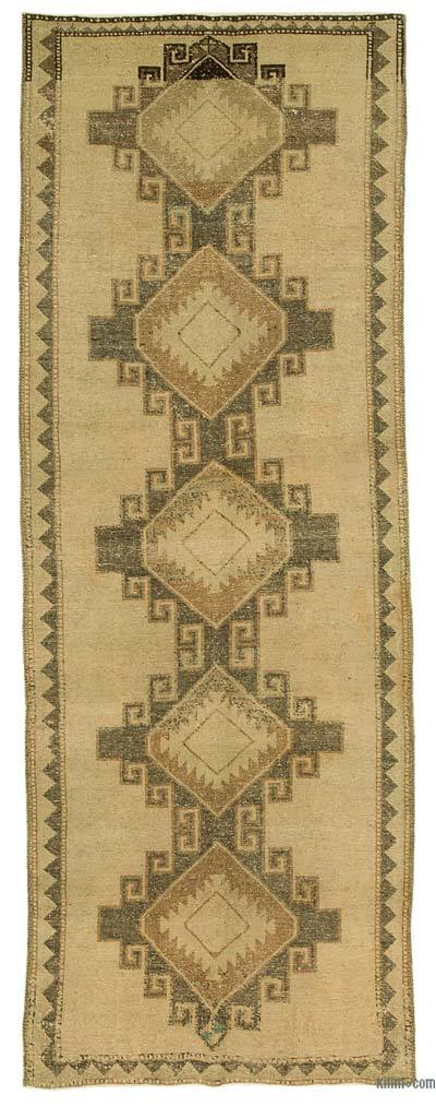 """All Wool Hand Knotted Vintage Area Rug - 4'2"""" x 11'6"""" (50 in. x 138 in.)"""