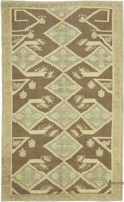 """All Wool Hand Knotted Vintage Area Rug - 5'2"""" x 8'6"""" (62 in. x 102 in.)"""