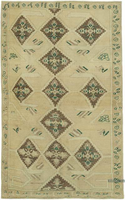 "All Wool Hand Knotted Vintage Area Rug - 5' 1"" x 8' 1"" (61 in. x 97 in.)"